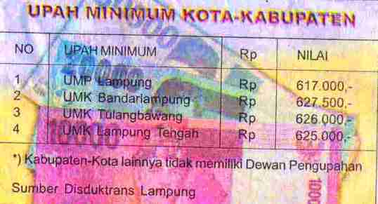 Daftar UMK Lampung tahun2008